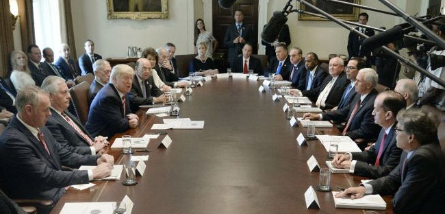 Trump Holds First Meeting with Upbeat Cabinet