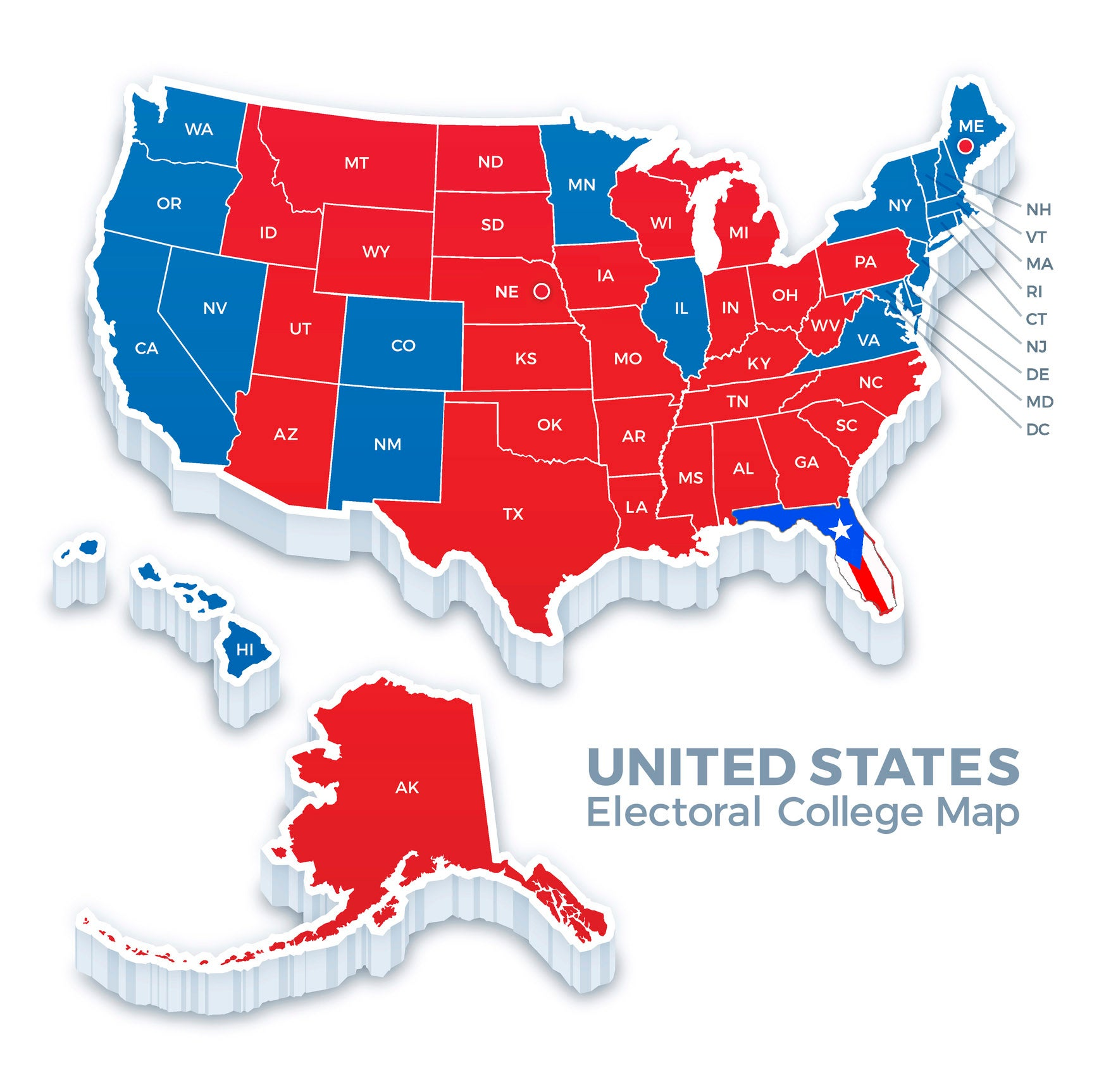 United States Presidential Election Electoral College Map 2016 The - 2017-us-election-map