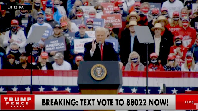 The President's Lititz, PA Rally Joined in Progress